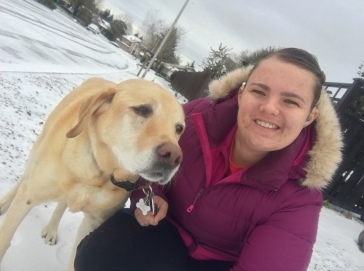 Me and Splashie taking a walk in the snow and ice.